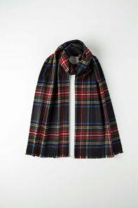 стильный шарф 100% шерсть мериноса,  расцветка королевский клан Стюартов Черный Black Royal Stewart MERINO Tartan , средняя плотность 4