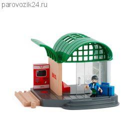 Деревянная ж/д станция с аксессуарами (звук)