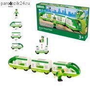 """Игровой набор """"Зеленый поезд с вагонами и машинистом"""""""