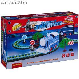 """Железная дорога """"Восточный экспресс"""" с паровозом (светится в темноте), 295 см"""
