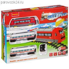 """Железная дорога """"Восточный экспресс"""", локомотив с двумя вагонами (свет, звук)"""