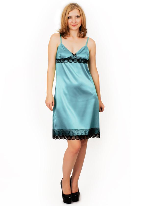 Атласная сорочка - Малина (небесно-голубой)