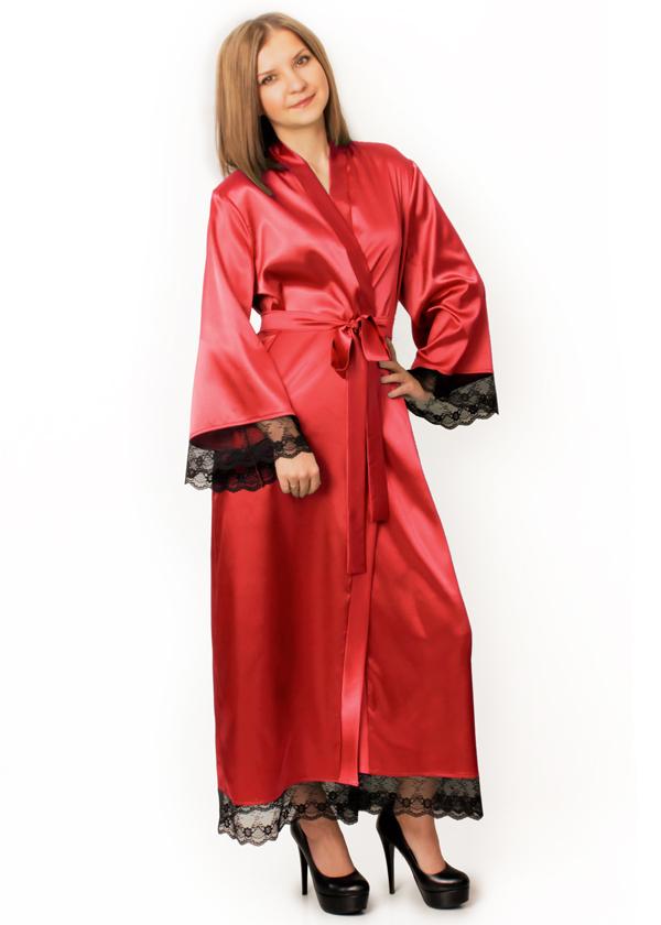 Длинный атласный халат Скарлетт  (красный)
