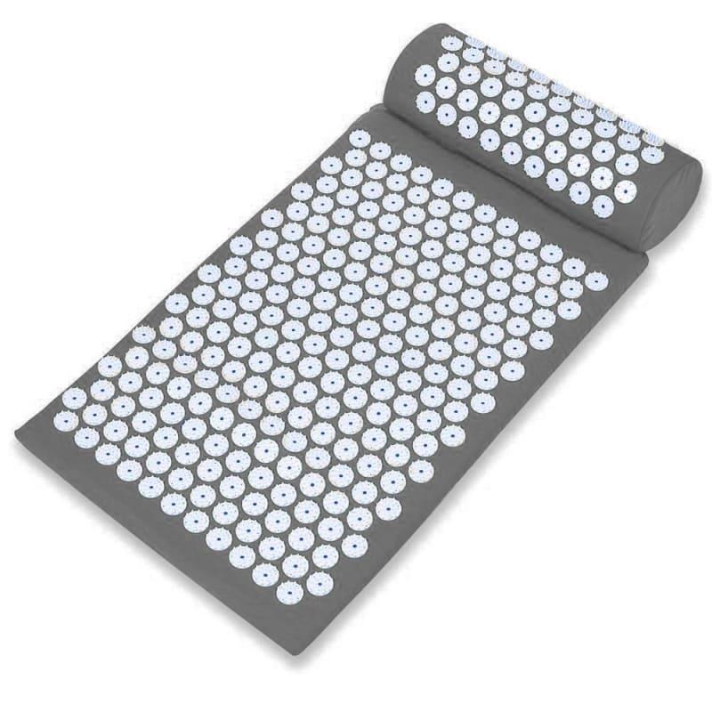 Массажный акупунктурный комплект из коврика и валика Acupressure Mat, серый