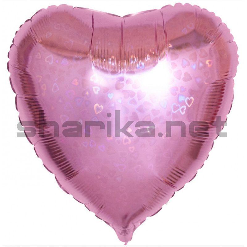 Шар (18''/46 см) Сердце, Розовый, голограмма