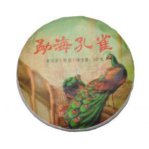 Шу пуэр блин Менхай Кун Тю Шу Ча (Павлин) 2019 год, 357 гр