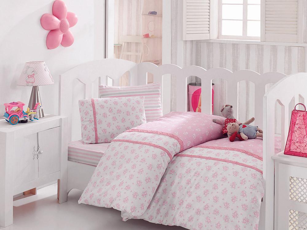 Детское постельное белье Розовые цветы с кружевом