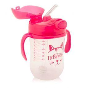 Dr.Brown's Чашка-непроливайка 270 мл с гибкой трубочкой с грузиком, ручками и откидывающейся крышкой, 6+, РОЗОВАЯ. (Арт. ТС91011)