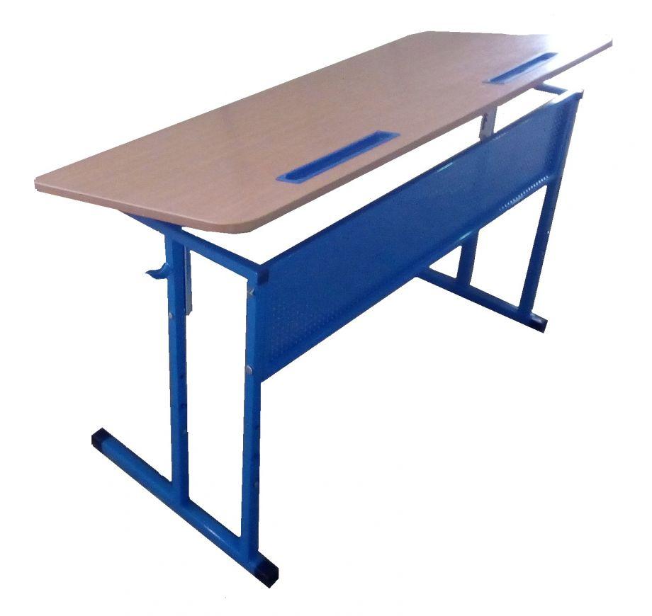 Стол ученический двухместный регулируемый, с перфорированным экраном, с регулировкой наклона столешницы