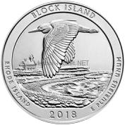 25 центов 2018 США Остров Блок, 45-й парк