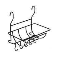 Полка с держателем для полотенца и крючками на штангу рейлинга (черный матовый)