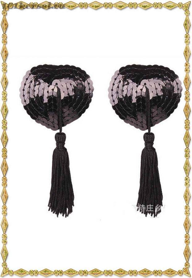 Розовые и черные пестис-сердечки  с черными кисточками