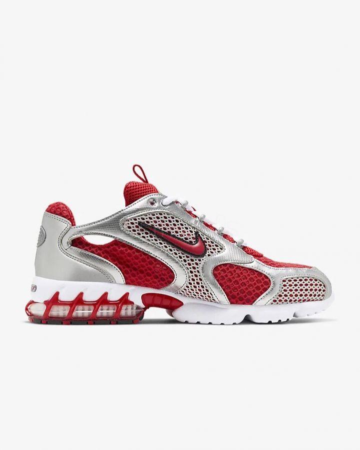 Stussy x Nike Air Zoom Spiridon Cage 2 white red