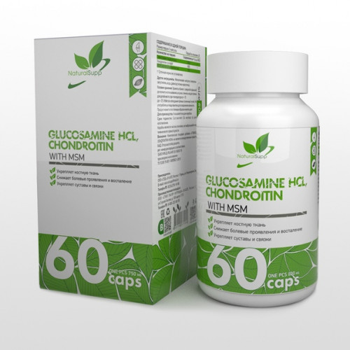 Glucosamine HCL,Chondroitin with MSM 60 caps(Natural Supp)