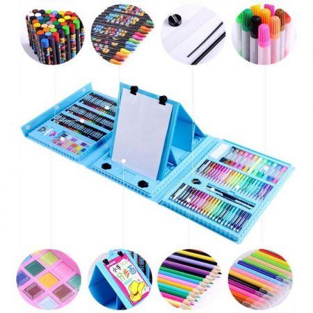 Набор для рисования со складным мольбертом в чемоданчике, 176 предметов, синий