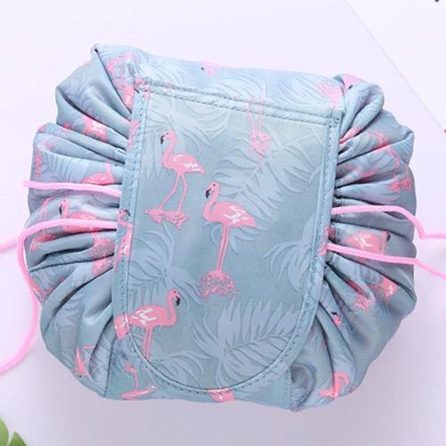 Ленивая нейлоновая косметичка-мешок на липучке, Цвет Серый с фламинго