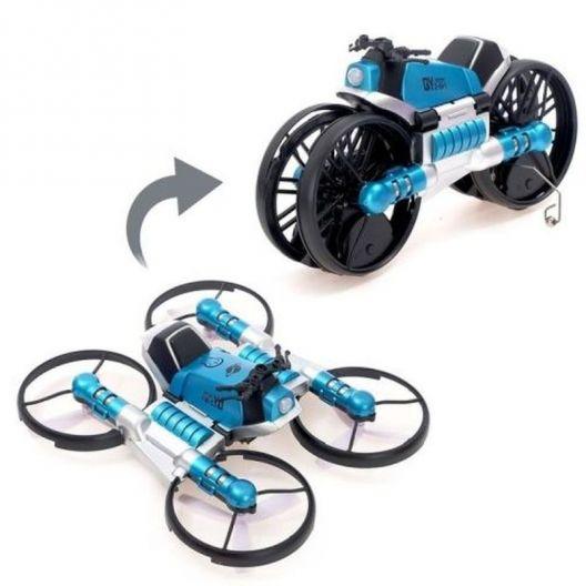 iizw Радиоуправляемый дрон-квадрокоптер-мотоцикл, трансформер (синий) Новый, Гарантия, Доставка