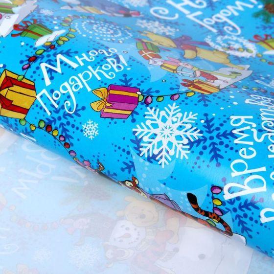 Бумага упаковочная глянцевая «С Новым Годом!», Медвежонок Винни и его друзья, 70 х 100 см Disney