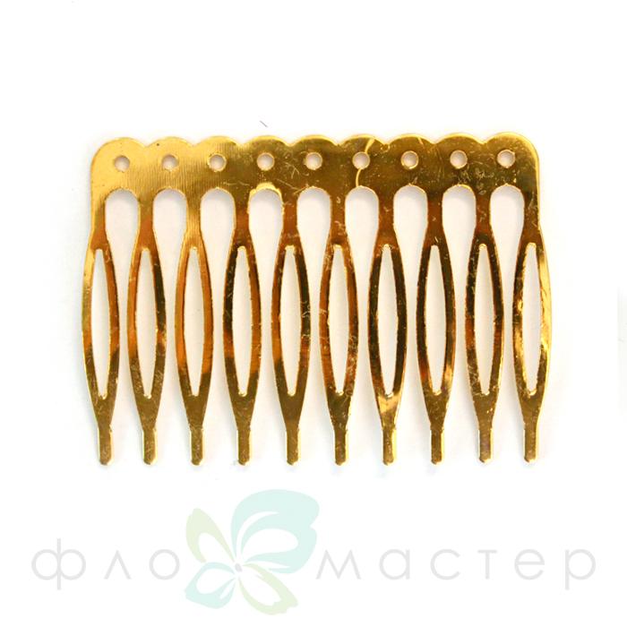Основа для гребня металлическая с отверстиями (желтый металл) 4*5,5см
