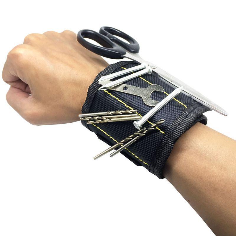 iizw Строительный матерчатый браслет с тремя магнитами Magnetic Wristband (МАГНЕТИК РИСТБАНД) (черный) Новый, Гарантия, Доставка