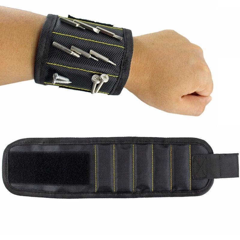iizw Строительный матерчатый браслет с пятью магнитами Magnetic Wristband (МАГНЕТИК РИСТБАНД) (черный) Новый, Гарантия, Доставка
