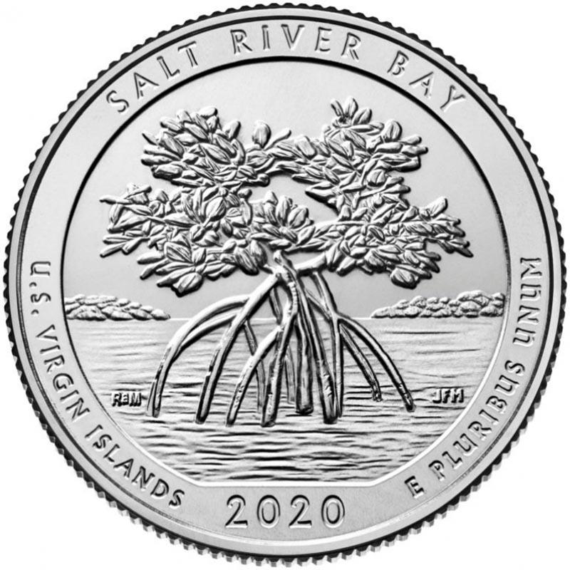 """25 центов 2020г. 53-й парк """"Солт Ривер Бей (Salt River Bay)"""""""