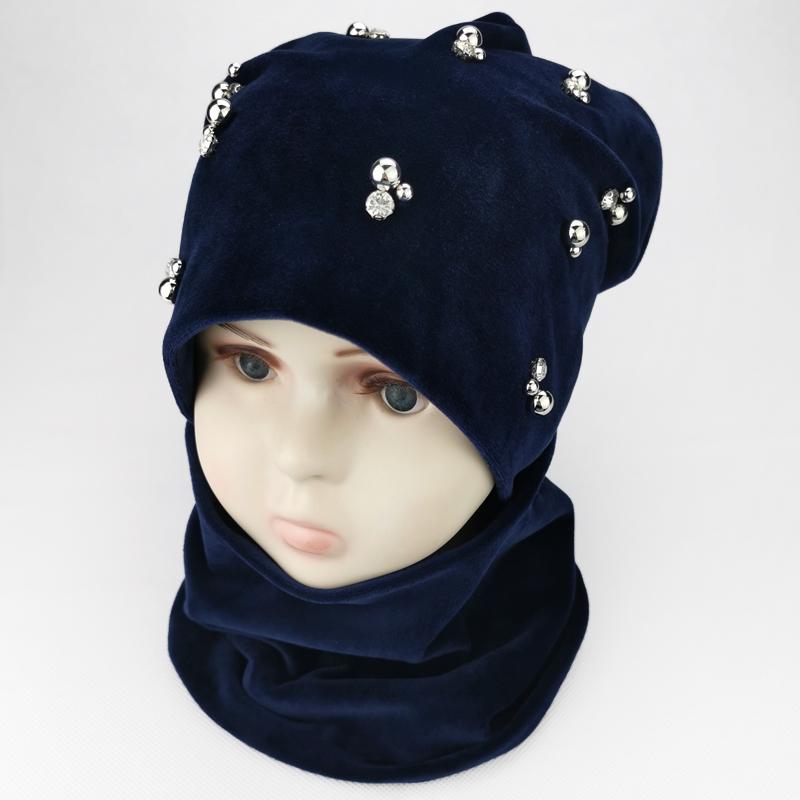 вд1586-58 Комплект шапка снуд двойной велюр Бусины темно-синий