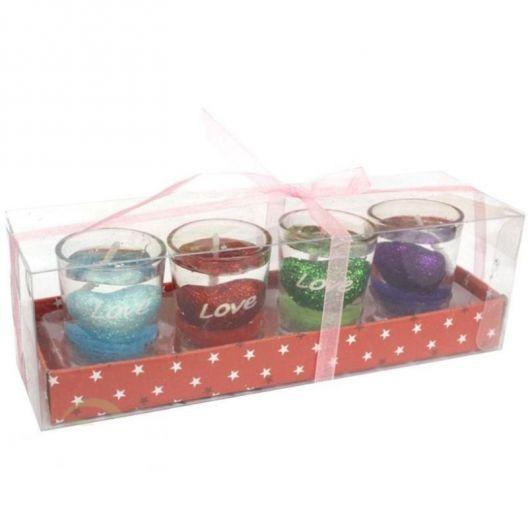 iizw Подарочный набор из четырех небольших гелевых свечек в прозрачных стаканчиках Love. Новый, Гарантия, Доставка
