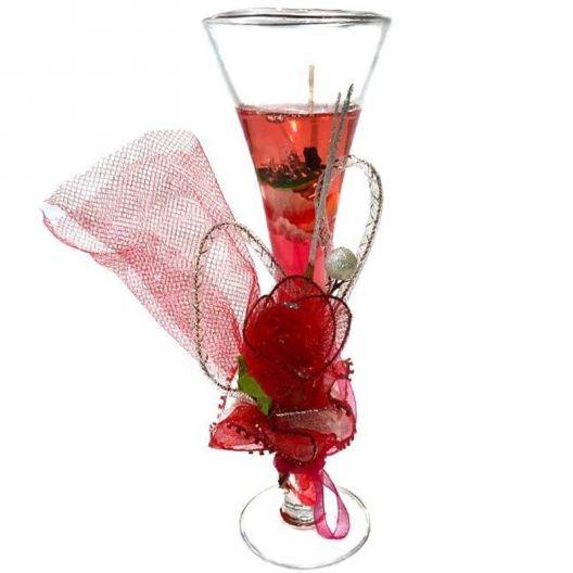 iizw Гелевая свечка с тремя светодиодами в фужере и изящной подарочной упаковке (розового цвета, высота 19 см) Новая, Гарантия, Доставка