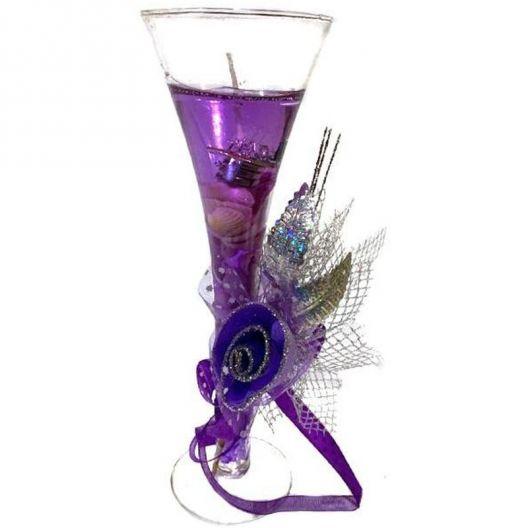 iizw Гелевая свечка с тремя светодиодами в фужере и изящной подарочной упаковке (фиолетового цвета, высота 19 см) Новая, Гарантия, Доставка