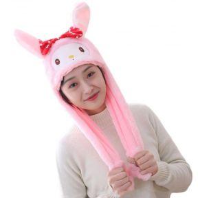 iizw Очаровательная пушистая шапка со светодиодной подсветкой и поднимающимися ушками (Мордашка с бантиком, розовая) Новая, Гарантия, Доставка