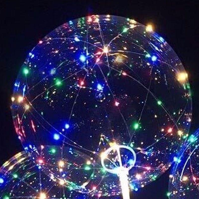 iizw Латексный шар ВОВО (сфера) со светящейся светодиодной гирляндой на палке-держателе и блоком управления (BOBO, 45 см) Новый, Гарантия, Доставка