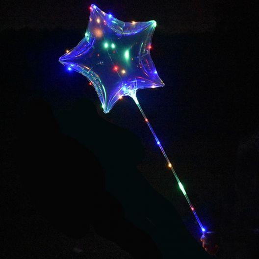 iizw Латексный шар ВОВО (звезда) со светящейся светодиодной гирляндой на палке-держателе и блоком управления (BOBO, 45 см) Новый, Гарантия, Доставка