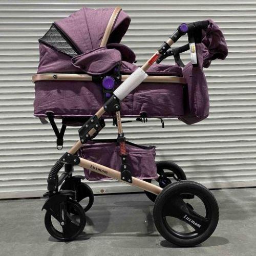 Коляска-трансформер 2в1 Luxmom 530 Фиолетовый текстиль+сумка для мамы