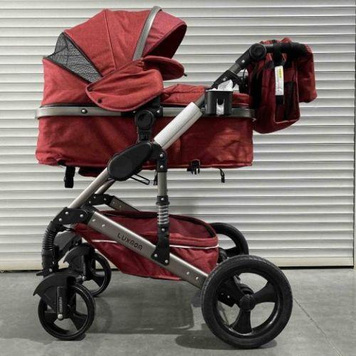 Коляска-трансформер Luxmom 555 2в1 Красный текстиль Серебристая рама
