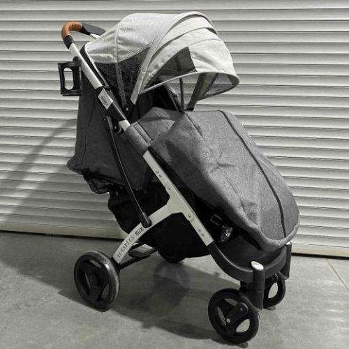 Коляска детская прогулочная Yoya Plus MAX серая/светло-серая на белой раме