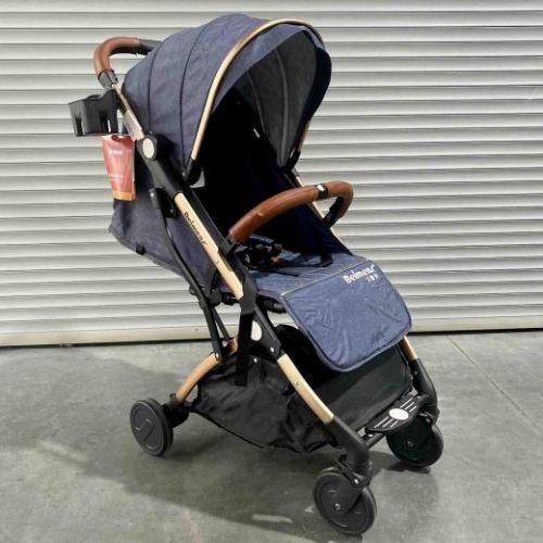 Прогулочная коляска TR 18 синий текстиль золотая рама