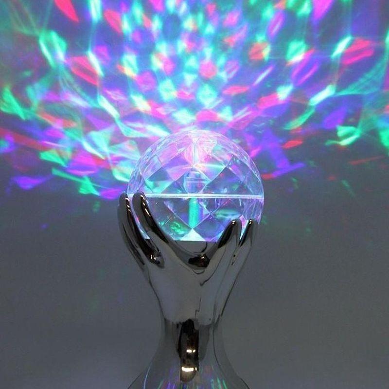 iizw Вращающийся светодиодный светильник Декоративный Шар на серебряных руках (электросеть 220 В, высота 18 см) Новый, Гарантия, Доставка
