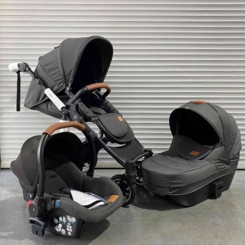 Модульная коляска 3в1 Luxmom 808 Тёмно-серый текстиль