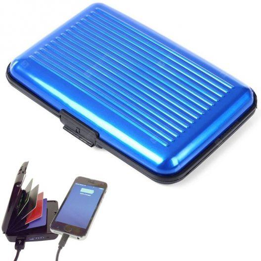 iizw Зарядное устройство и одновременно кошелек (2 в 1) Sonic IQ E-Charge Wallet (СОНИК ИК Е-ЧАРЖЕ ВАЛЛЕТ) 10000 мАч, (синее) Новое, Гарантия, Доставка