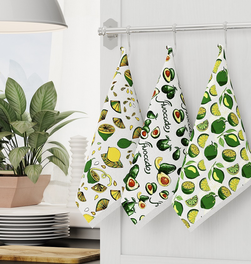 Кухонные полотенца авокадо 3 шт.