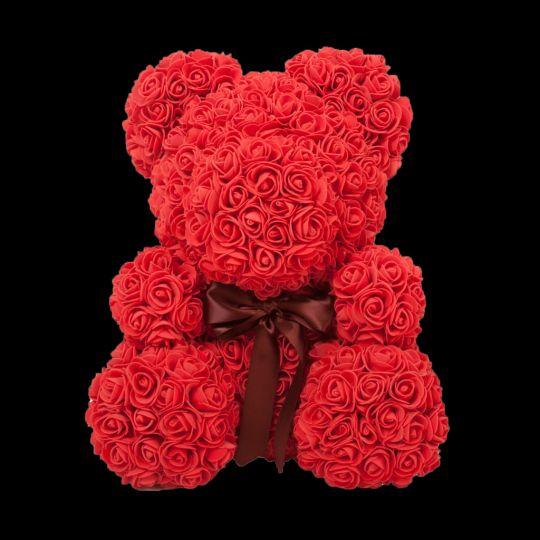 Мишка из роз (красный), 40 см