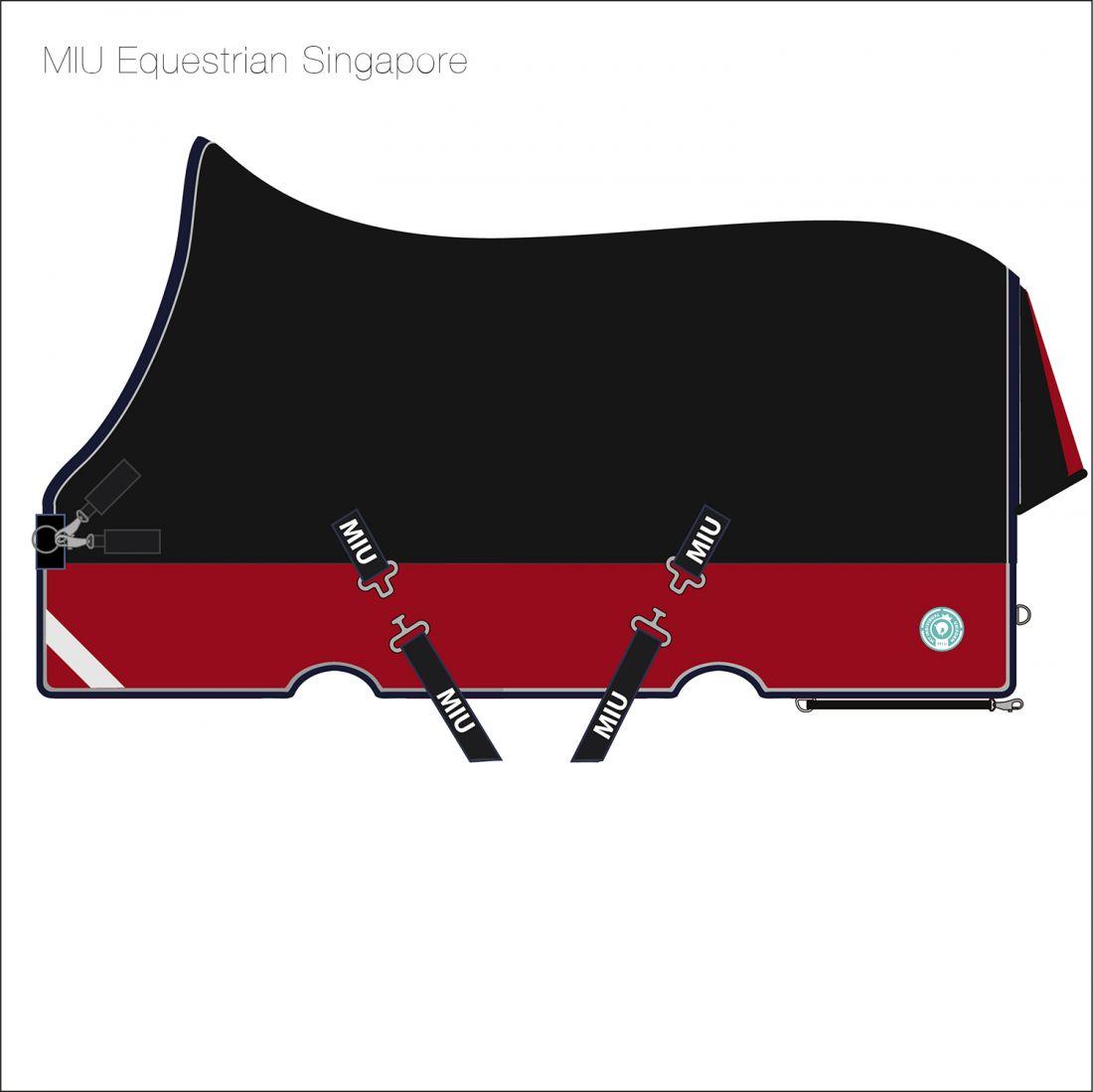 Попона прогулочная SINGAPORE с высокой холкой чёрный/бордо