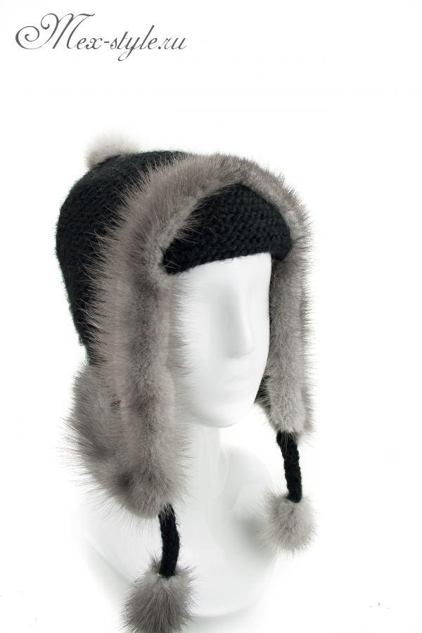 Трикотажная шапка с отделкой из норки 391