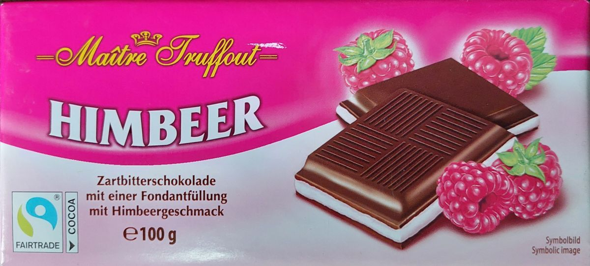 Шоколад Maitre Truffout Темный шоколад 50% (малина) 100г