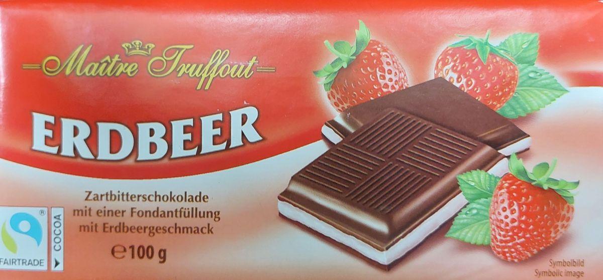 Шоколад Maitre Truffout Темный шоколад 50% (клубника) 100г
