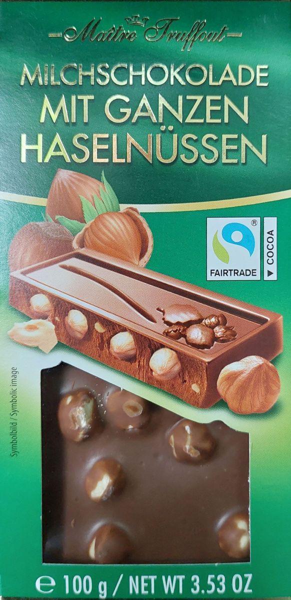 Шоколад Maitre Truffout Молочный шоколад (цельный фундук) 100г