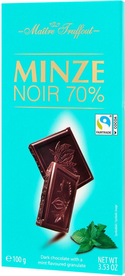 Шоколад Maitre Truffout Темный шоколад 70% (мята) 100г