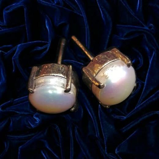 Индийские серебряные серьги с жемчугом