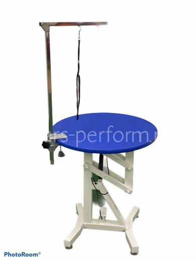Стол на пневмо-подъемнике с крутящейся столешницей Синий